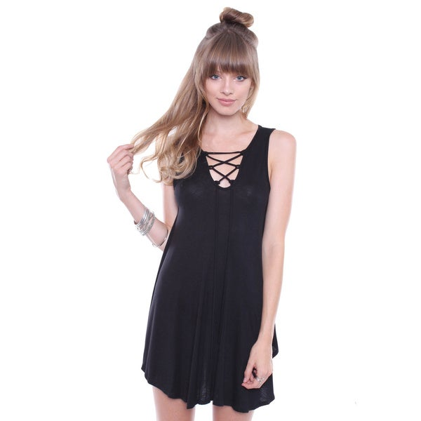 Juniors' Contemporary Lace Up Tank Top Sleeveless Shirt