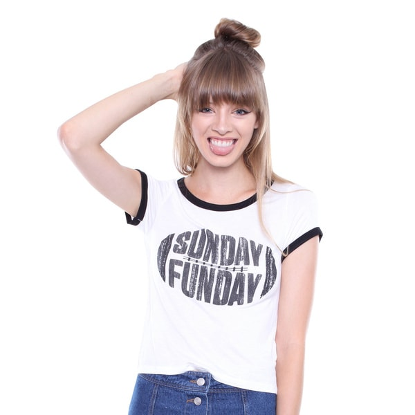 Juniors' Contemporary White Football 'Sunday Funday' Graphic Tee