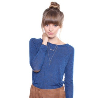 Juniors' Contemporary Blue Sweater W/ Camel Elbow Patch