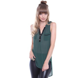Juniors' Contemporary Dark Green High Low Button Up Sleeveless Blouse