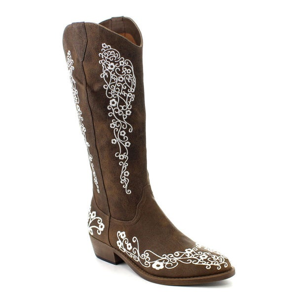 C Label Topaz-1 Women's Western Embroidered Cowgirl Under Knee High Boots