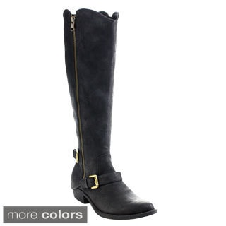 C Label Topaz-7 Women's Buckle Side Zipper Stacked Chunky Knee High Boots