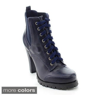 C Label Binky-3 Women's Lace Up Elastic Panel Platform Chunky Ankle Booties