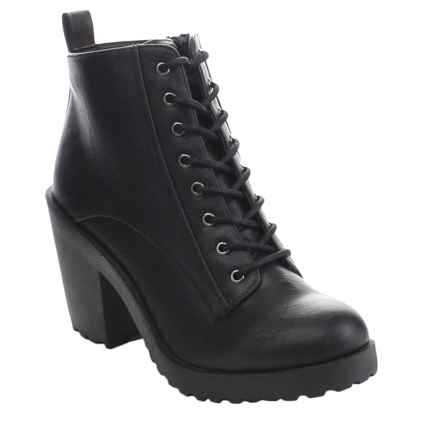 Soda Inside-h Women's Chunky Lug Sole Lace Up Side Zipper Ankle Booties