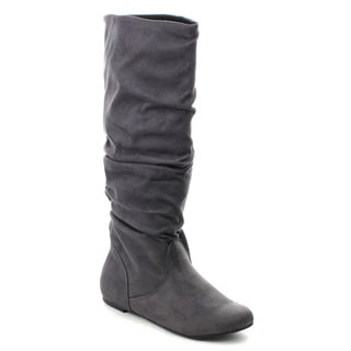 Soda Zuluu Women's Round Toe Cute Knee High Flat Boots