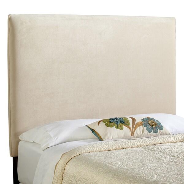Haute Bingham Tall Queen Size Ivory Velvet Upholstered Headboard