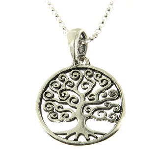 Handmade .925 Sterling Silver Round Tree of Life Pendant Necklace (Thailand)