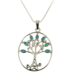 Handmade .925 Sterling Silver Opal LeavesTree of Life Pendant Necklace(Thailand)