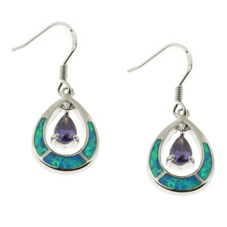 Handcrafted .925 Sterling Silver Opal and Amethyst Earrings (Thailand)