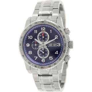 Bulova Men's96C121 Stainless Steel Chronograph Blue Dial 200M Water Resistance Watch