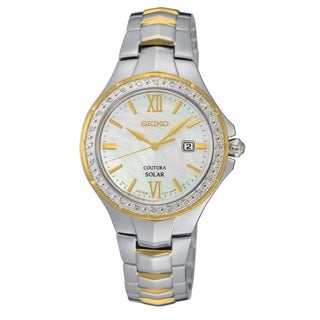 Seiko Women's Coutura SUT240 Stainless Steel 24 Diamond and Mother of Pearl dial Watch