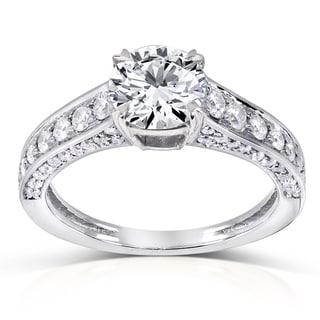 Annello 14k White Gold 1 1/2ct TDW Diamond Pave Engagement Ring (H-I, I1-I2)