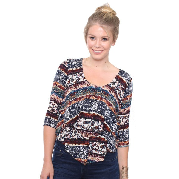Women's Plus Size Boho Print Layered Blouse