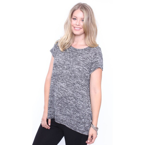 Women's Plus Size Grey Hacci Trapeze Tunic Tee