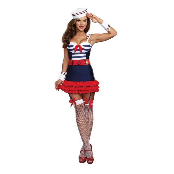 Dream Girl 9861 Women's Halloween Costume Sailors Delight 5-piece Sailors Set in Small Only (As Is Item) 16638563