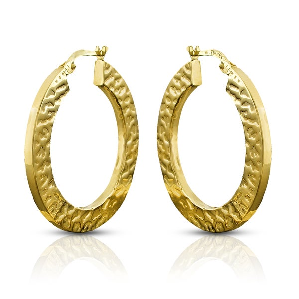 14k Yellow Gold Leopard Pattern Flat Squared Hoop Earrings