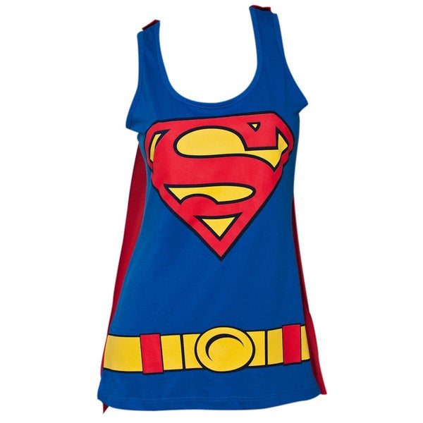 Juniors' Blue Superman Removable Cape Costume Tank Top