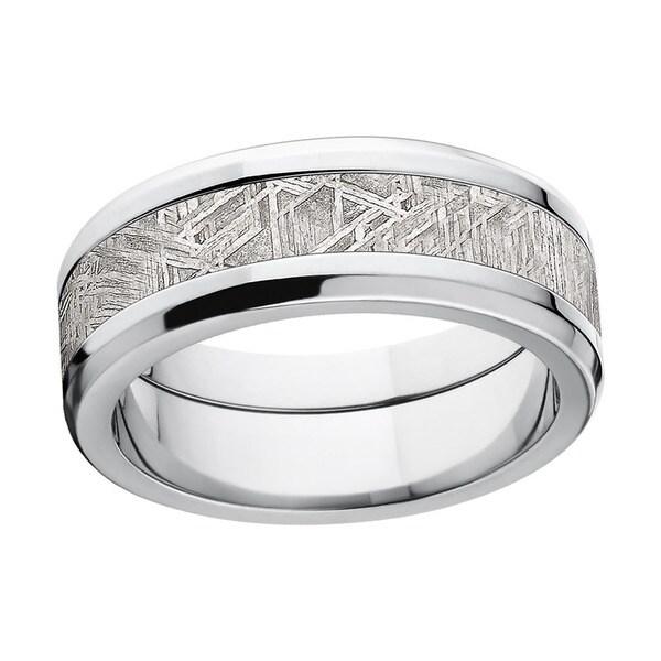 Titanium Beveled Meteorite Ring