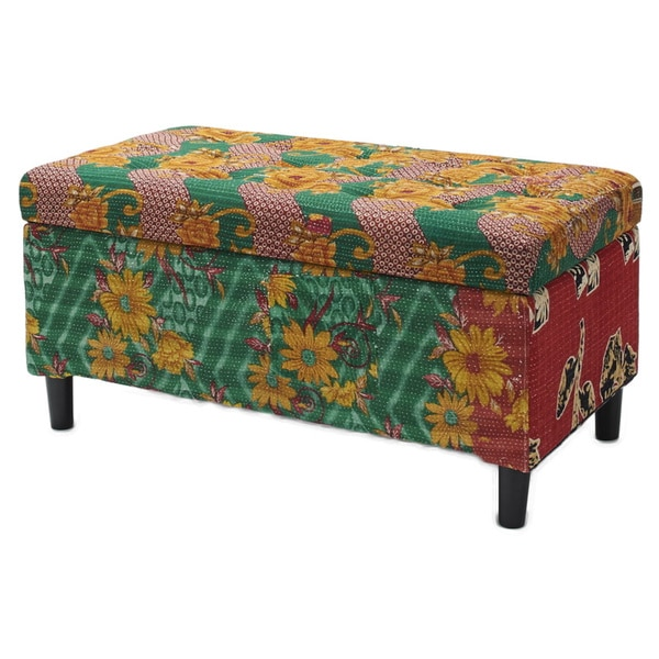Jennifer Taylor One of a Kind Kantha Multicolored Storage Bench