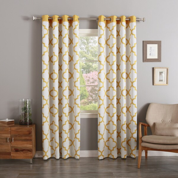 Moroccan Tile Print Room Darkening Grommet Top Curtain Panel Pair