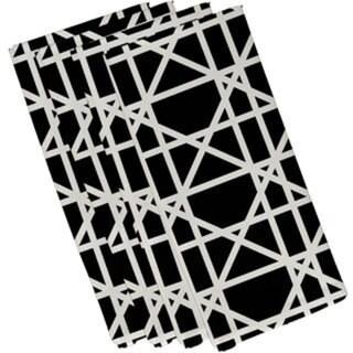 Cotton Black 22x22 Trellis Geometric Print Napkin