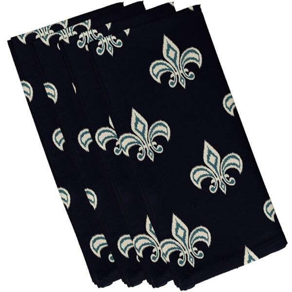 Cotton Navy Blue 10x10 Fleur de Lis Ikat Print Napkin
