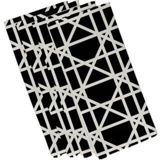 Cotton Black 10x10 Trellis Geometric Print Napkin