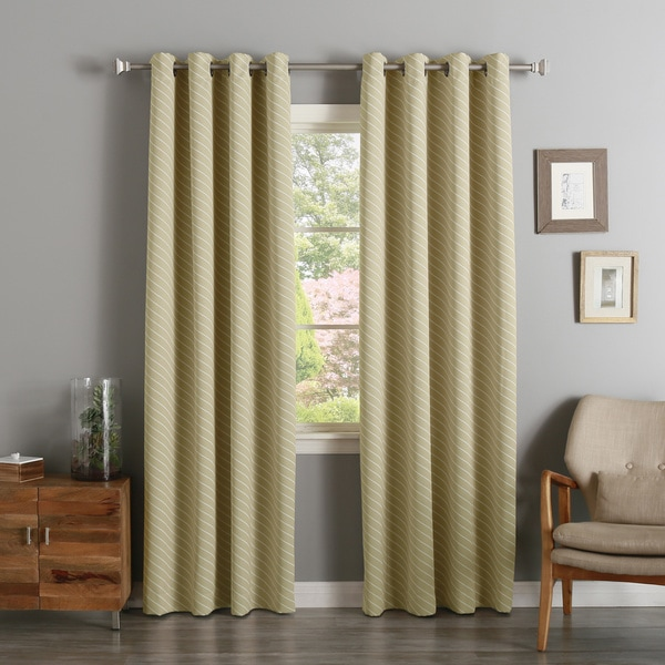 Diagonal Stripe Room Darkening Siver Grommet Top Curtain Panel Pair