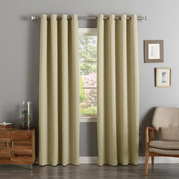 Diagonal Stripe Room Darkening Siver Grommet Top Curtain Panel Pair