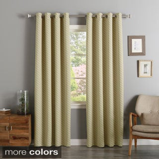 Aurora Home Diagonal Stripe Room Darkening Siver Grommet Top Curtain Panel Pair