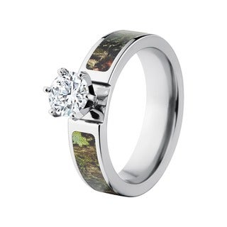 Mossy Cobalt Oak Cubic Zirconia Solitaire Engagement Ring