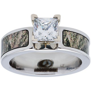 Mossy Oak Cobalt Cubic Zirconia Solitiare 6mm Engagement Ring