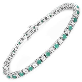 Malaika Sterling Silver 2 3/4ct Genuine Emerald and 1/6ct TDW Diamond Bracelet