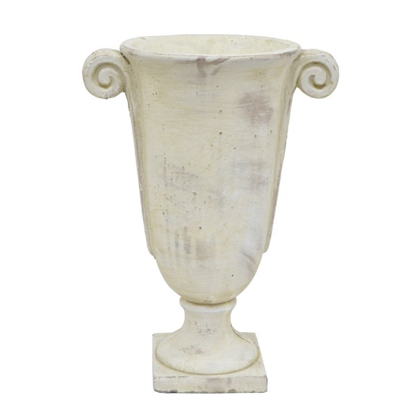 White Cement Decorative Urn