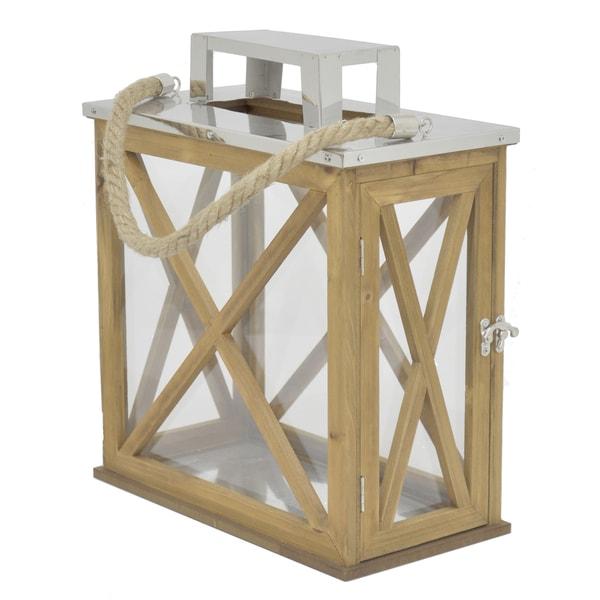 Wood/ Metal Brown Lantern