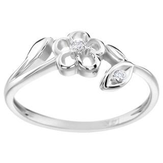 SummerRose 14k White Gold Diamond Accent Flower Ring (H-I, SI1-SI2)