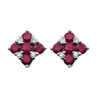 14k White Gold Ruby and Diamond Accent Square Stud Earrings
