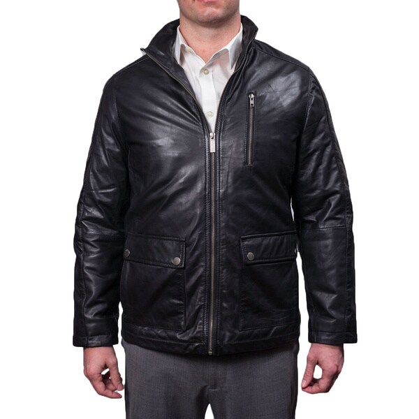 Nautica Men's Genuine Leather Zip Front Jacket 16103123