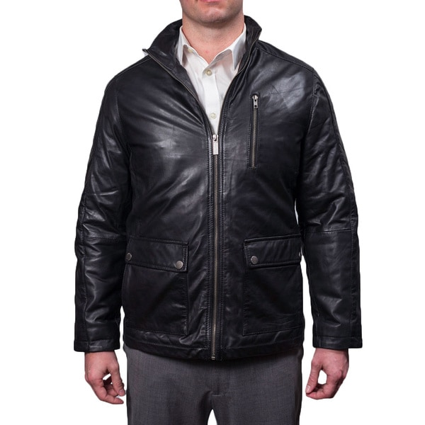 Nautica Men's Genuine Leather Zip Front Jacket 16103124