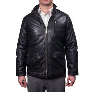 Nautica Men's Genuine Leather Zip Front Jacket