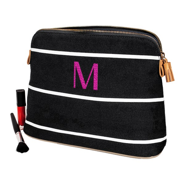 Personalized Black Striped Cosmetic Bag