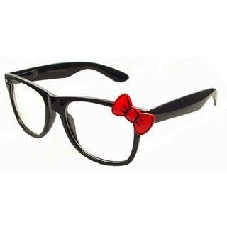 Red Bow Accent Black Classic Glasses