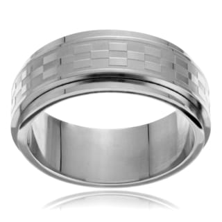 Vance Co. Men's Stainless Steel Checkerboard Spinner Band (8mm)