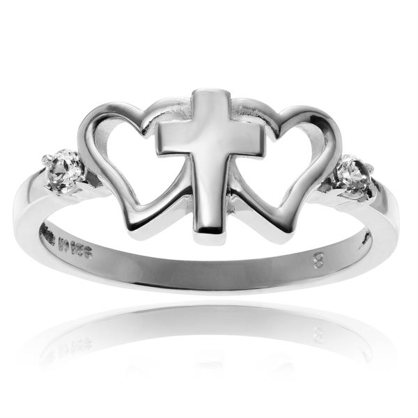 Journee Collection Sterling Silver CZ Accent Double Heart Cross Ring