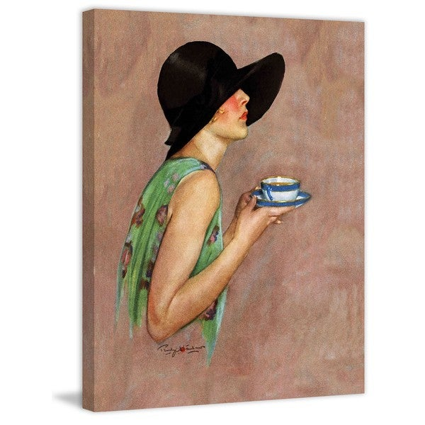 "Marmont Hill - ""Lady in Wide Brim Hat Holding Tea Cup"" by Penrhyn Stanlaws Painting Print on Canvas"
