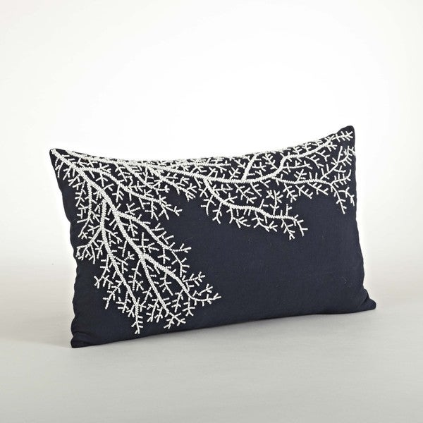 Beaded Coral Design Pillow