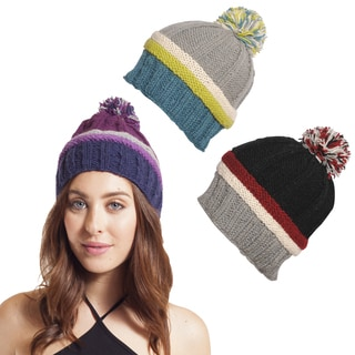 Multi-stripe Beanie with Pom Pom (Nepal)