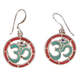 Om Turquoise and Coral Dangle Earrings (Nepal)