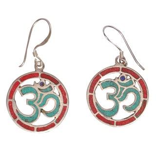 Om Turquoise Coral Earrings (Nepal)