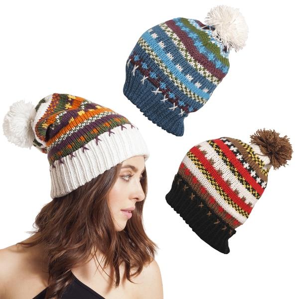 Funky Stripes Winter Wool Beanie with Pom Pom (Nepal)